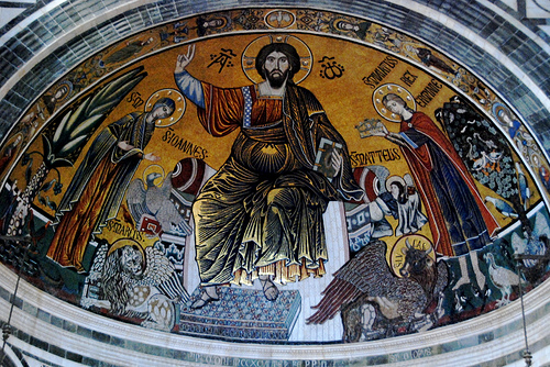 Mosaics at Santa Miniato al Monte, a lovely Romanesque church in Florence, Italy