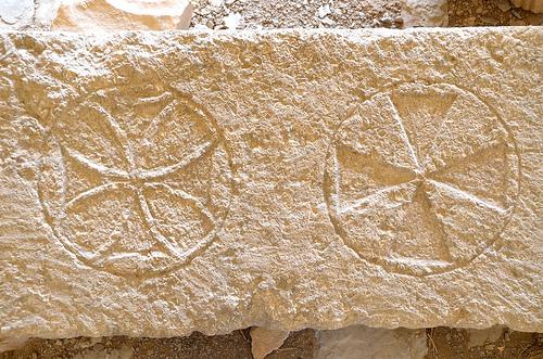 stone with crosses