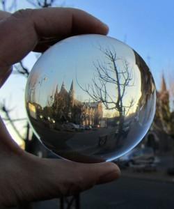church in crystal ball