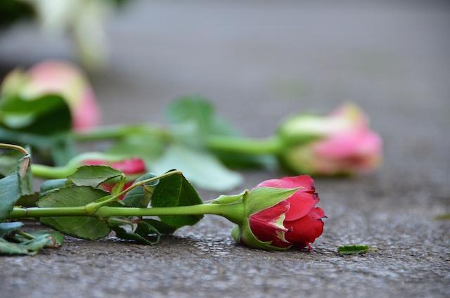 flowers on tomb