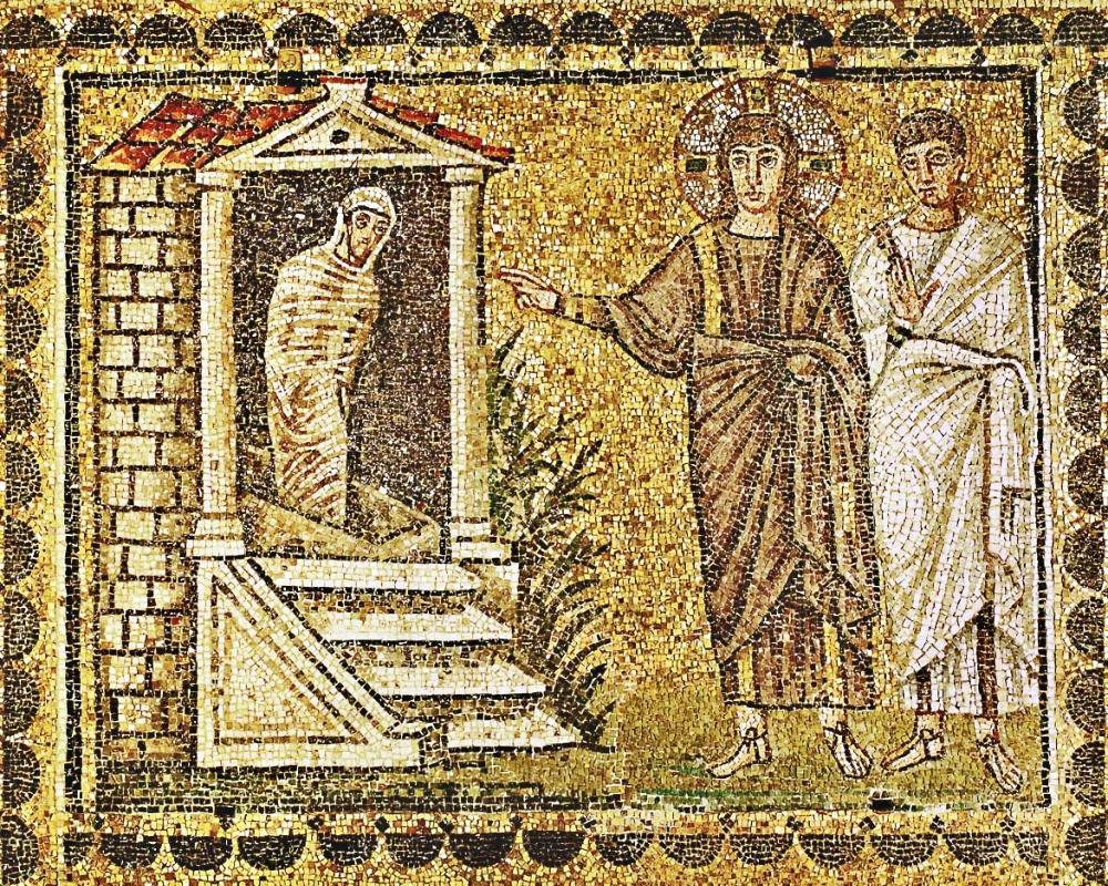 The raising of Lazarus from the dead, Jesus and an apostle. Mosaic (6th)