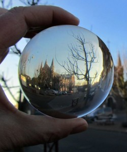church in crystal ball