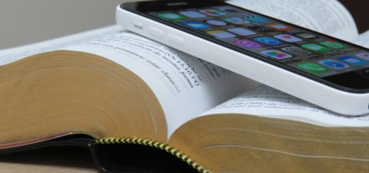Bible with smartphone